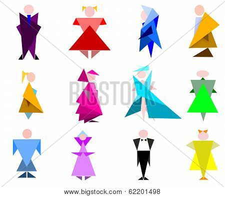 figures of the people in geometric stiletto
