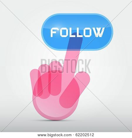 Social Media Symbol - Hand Icon Pushing Transparent Follow Button