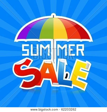 Summer Sale Vector Illustration on Retro Blue Background