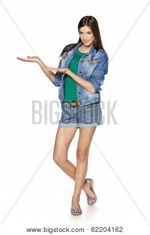 Full length girl showing blank copy space