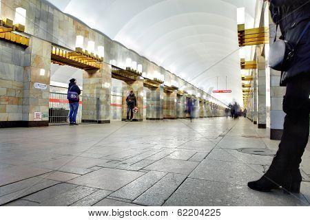 Russia, Saint-petersburg, The Station Underground Metro Line, Grazhdansky Prospect.