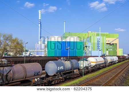 FRANKFURT - GERMANY OCTOBER 17: wagons for transportation of chemicals inside the Industry Park on October 17 2011 in Frankfurt Germany. Carstrains and ships are available for transport inside the park.