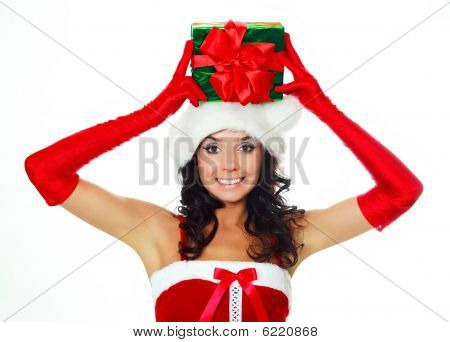 Girl With A Present On Her Head