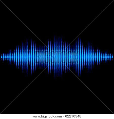 Blue sound waveform with triangular light filter
