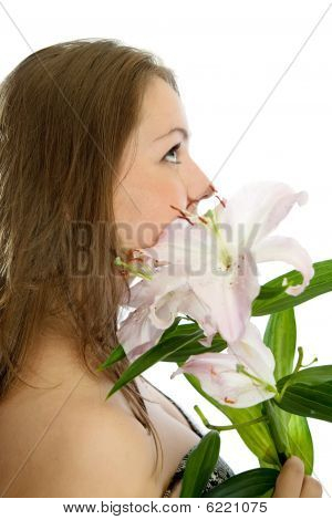 Portrait Of  Girl With Lily  Flower