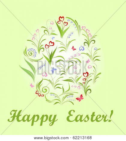 Greeting for easter with spring flowers. Raster copy