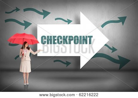 The word checkpoint and attractive businesswoman holding red umbrella against arrows pointing