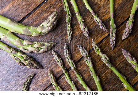 Asparagus Bunch On Wood