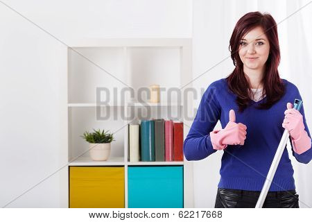 Smiling Woman During Housework