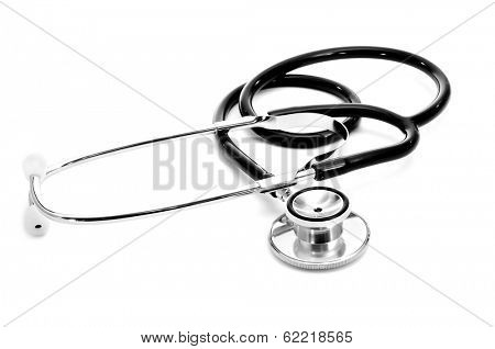 a medical stethoscope on a white background