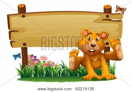 Illustration of a playful bear near the empty wooden signboard on a white background