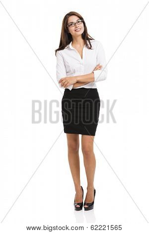 Modern business woman smiling and thinking, isolated over a white background
