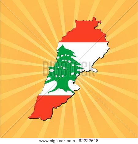 Lebanon map flag on sunburst illustration