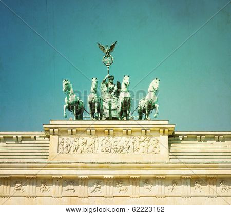 Vintage Brandenburg Gate (Brandenburger Tor), famous landmark in Berlin, Germany,rebuilt in the late 18th century as a neoclassical triumphal arch