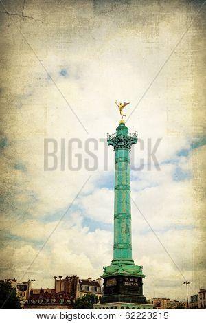 Vintage Place de la Bastille in Paris, France