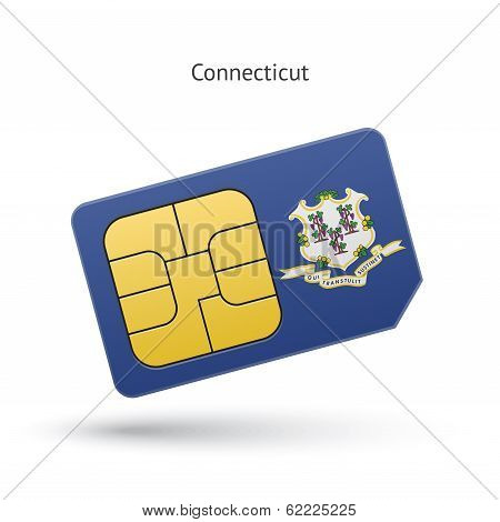 State of Connecticut phone sim card with flag.