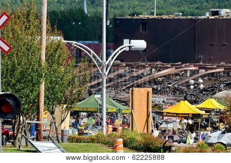 Downtown Lac Megantic after the worst train disaster in the canadian history