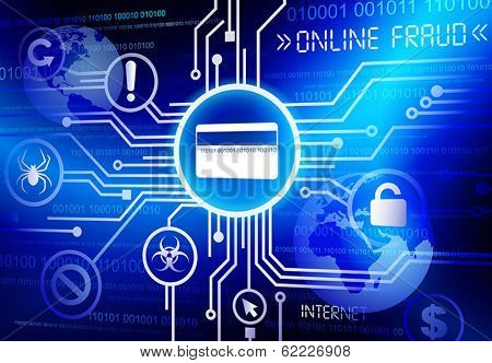 Online Fraud credit card vector.