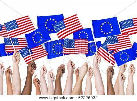 EU and Americain Flags