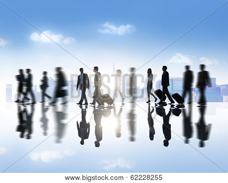 Group of Business People with Skyline