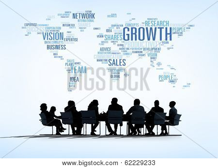 World Business Meeting with Growth Concept poster