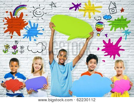 Cheerful Children with Multi Colored Speech Bubbles