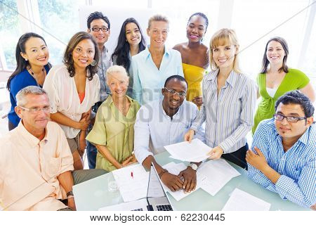 Group of Diverse Business Colleagues Smiling