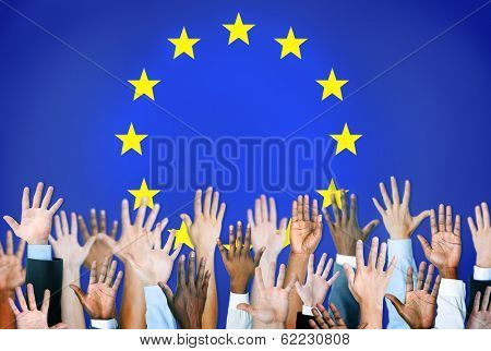 Group of Hands with The European Union Flag