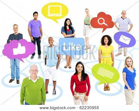 Group of Multi-ethnic Colorful World People with Social Media Icons
