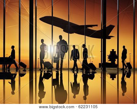 Business Travellers at Airport with 3D Airplane