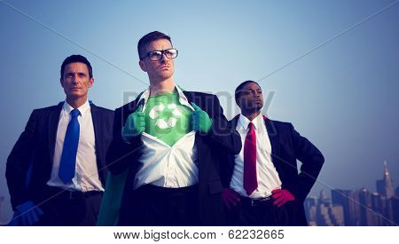 Superhero Businessmen Fighting For The Environment