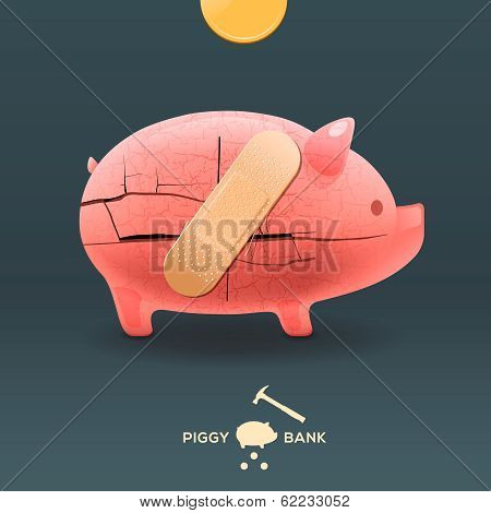 Piggy breaking moneybox with coin and stuck a plaster