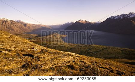 Marvellous View of Lake Wakitipu and The Mountain Range, New Zealand
