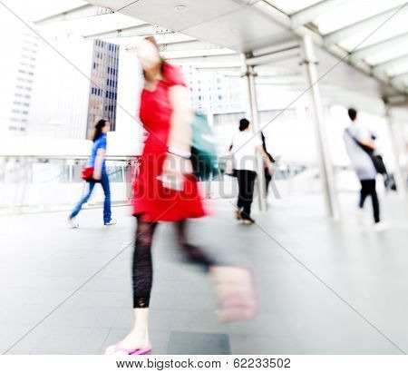 Blurred Rushing People in Hong Kong