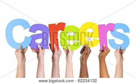 Multi Ethnic People Holding The Word Careers