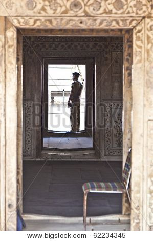 Guard Pays Attention At Hall Of Private Audience Or Diwan I Khas At The Lal Qila