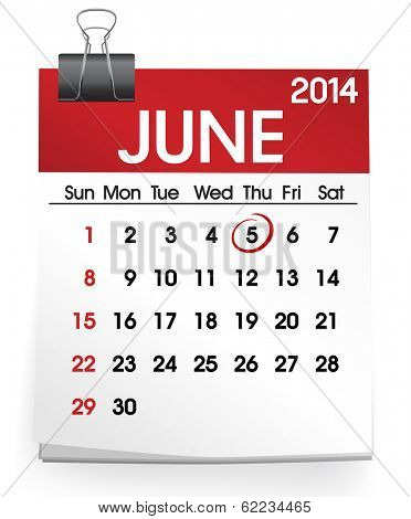 Vector of Calendar: June 2014
