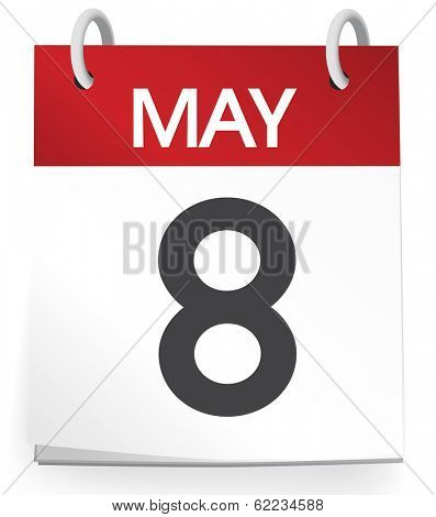 Vector of 8th of May Calendar