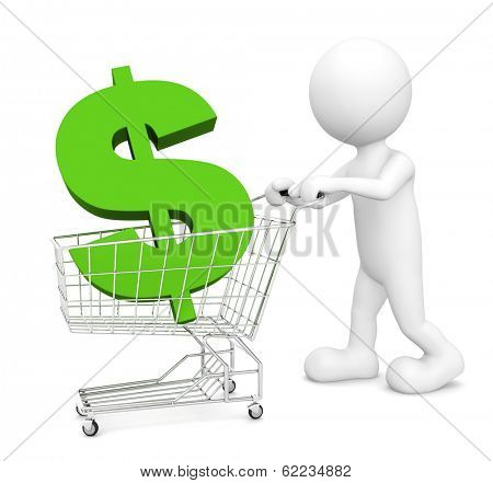 3D Morph Man Pushing Cart With Dollar Sign