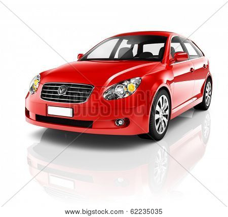 3D Red Sedan Car