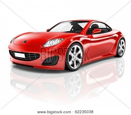 3D Red Sports Car