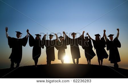 Group Of Diverse International Students Celebrating Graduation poster