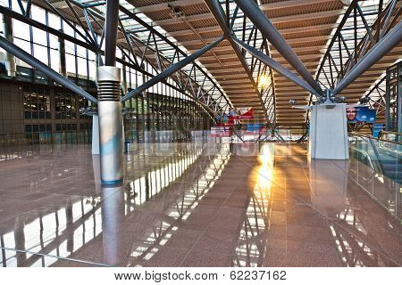 Departure Hall At The Airport In Morning Light