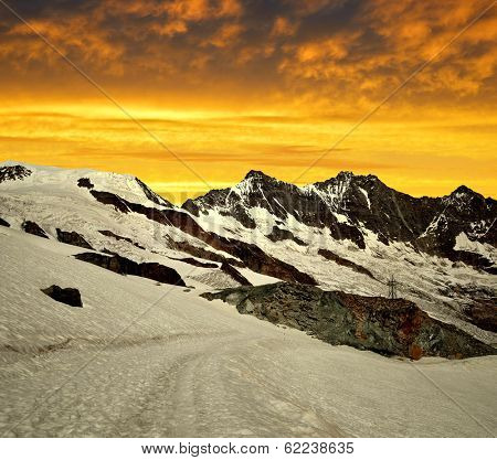 Alphubel,Dom and Taschhorn in the sunset - Swiss alps