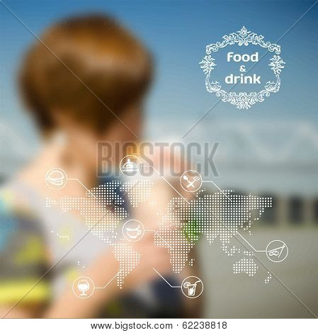 Vector Blurred Background With Girl Eating A Hamburger. Infographics On Food And Drinks