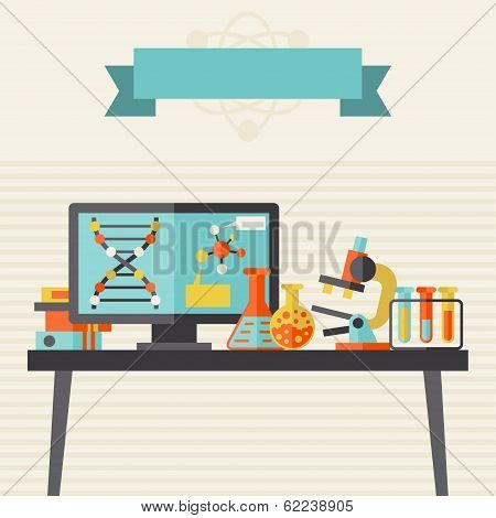 Science concept illustration in flat design style.