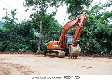 Heavy Earth Mover At Construction Site