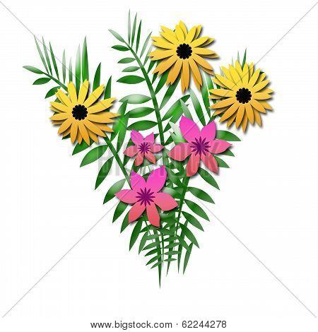 flower bouquet with ferns