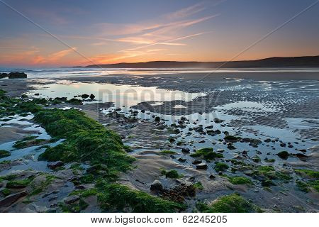 Low Tide Beach At Sunset