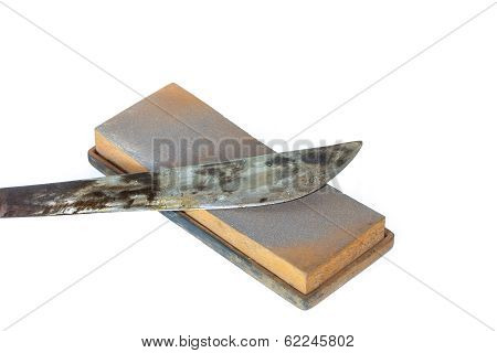 Old Rusty Knife On White Background